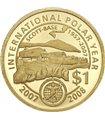 Золотая монета 1/25oz Международный Полярный Год 1 доллар 2007 Новая Зеландия