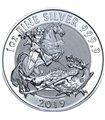 Серебряная монета 1oz Святой Георгий и Дракон 2 фунта 2019 Великобритания
