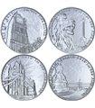 Набор серебряных монет (4 шт.) 1oz посвященных городу Лондон 2 фунта стерлингов 2017-2019 Великобритания