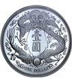 Серебряная монета 1oz Длинноусый Дракон 1 доллар Китай 2019 рестрайк