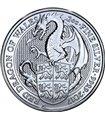 """Срібна монета 2oz Червоний Дракон Уельський (серія """"Звірі Королеви"""") 5 фунтів стерлінгів 2017 Великобританія"""