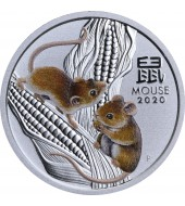 Серебряная монета 1/4oz Год Мыши (Крысы) 25 центов 2020 Австралия (цветная)