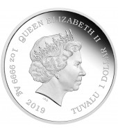 Серебряная монета 1oz Харли Квинн 1 доллар 2019 Тувалу (цветная)