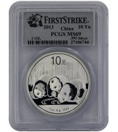 Серебряная монета 1oz Китайская Панда 10 юань 2013 Китай (PCGS MS69)