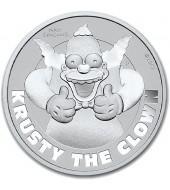 """Срібна монета 1oz Клоун Красті (серія """"Сімпсони"""") 1 долар 2020 Тувалу"""