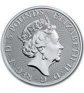 """Срібна монета 2oz Білий Кінь Ганновера (серія """"Звірі Королеви"""") 5 фунтів 2020 Великобританія"""