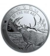 """Срібна монета 1oz Гігантський Олень """"Megaloceros"""" 5 седі 2019 Гана"""