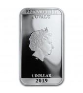 """Срібна монета 1oz """"Чужий"""" 40-річчя 1 долар 2019 Тувалу"""