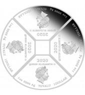 """Серебряная монета 4oz Год Мыши (Крысы) """"Квадрант"""" 4 доллара 2020 Тувалу (цветная)"""