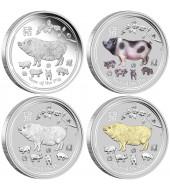 Набор серебряных монет 1oz (4 шт.) Год Свиньи 1 доллар 2019 Австралия