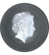 Серебряная монета 1oz Год Лошади 1 доллар 2014 Австралия (позолота)