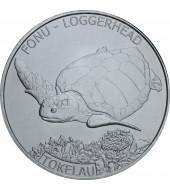 Срібна монета 1oz Головаста Черепаха 5 доларів 2019 Токелау