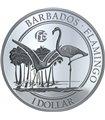 Срібна монета FABULOUS 15 (F15) Фламінго 1 долар 2017 Барбадос