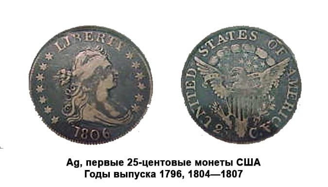 Первые 25-центовые монеты США