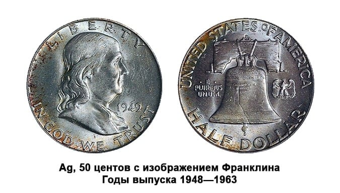 Предметы нумизматики США. 50 центов с портретом Франклина.
