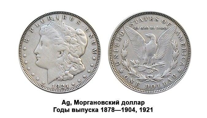Моргановский доллар. Серебряные монеты США.