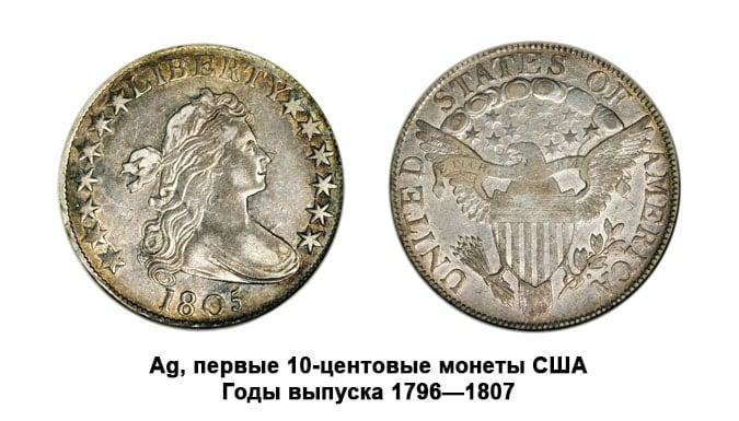 Серебряные монеты США, предметы нумизматики номиналом 10 центов.