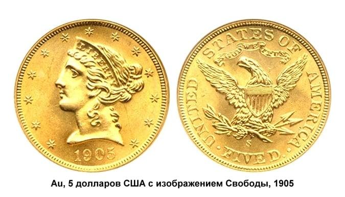 5 долларов США, 1905 год, изображение Свободы