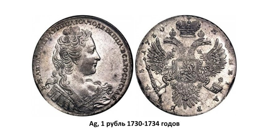 Серебряные монеты Анны Иоанновны (1730-1740)