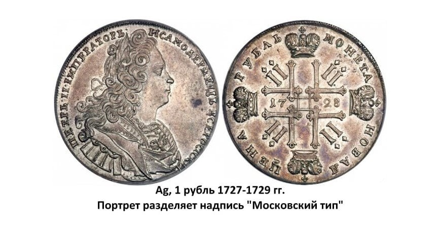 Серебряные монеты Петра II (1727-1729)