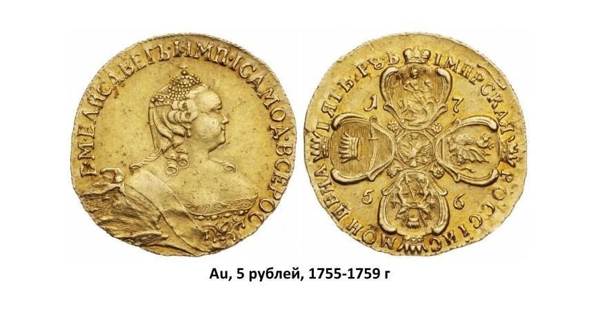 Золоті монети Єлизавети (1741-1762)