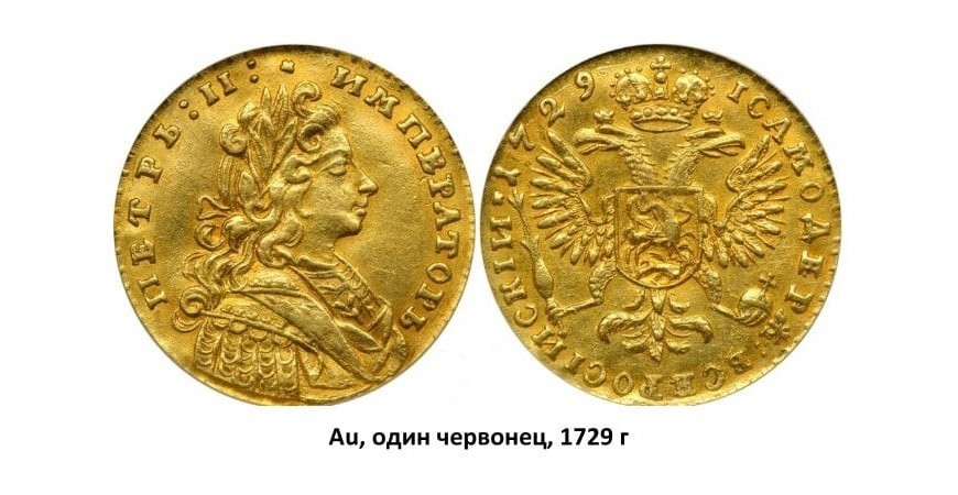 Золотые монеты Петра II (1727-1729)