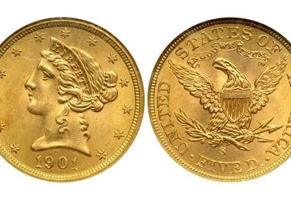 Монета 5 американских долларов