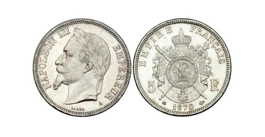 Французские монеты по 5 франков
